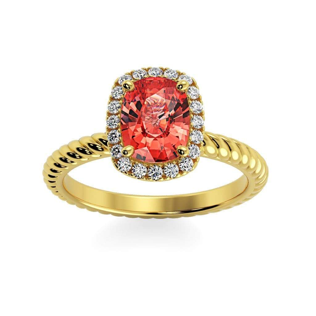 Ring 14K Yellow Gold / 8 x 6  Cushion Gabriella Antique Cushion Chatham Padparadscha Sapphire Halo Diamond Ring Diana  | Chatham Padparadscha Sapphire | Halo Diamond Ring  | Storyandhearts.com