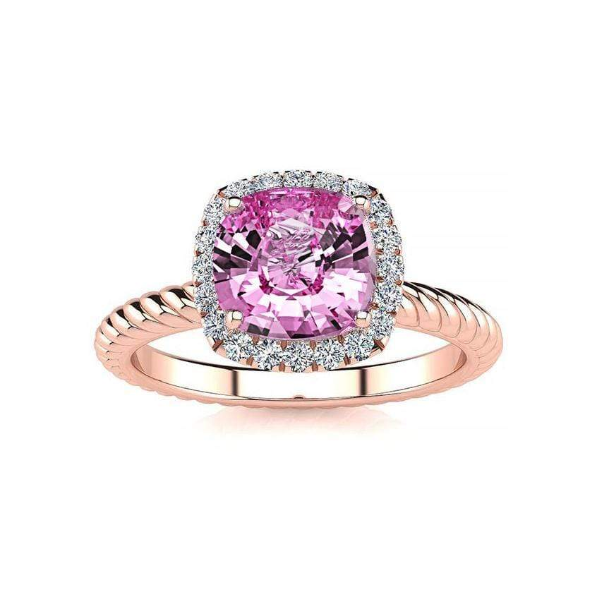 Ring 14K Rose Gold / 6mm Cushion Gabriella Antique Cushion Chatham Pink Sapphire Halo Diamond Ring Gabriella Antique Cushion   | Chatham Pink Sapphire | Halo Diamond Ring  | Storyandhearts.com
