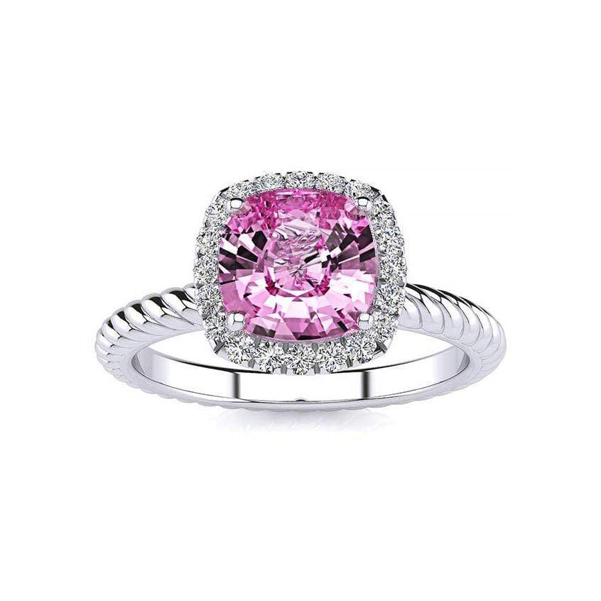 Ring 10K White Gold / 6mm Cushion Gabriella Antique Cushion Chatham Pink Sapphire Halo Diamond Ring Gabriella Antique Cushion   | Chatham Pink Sapphire | Halo Diamond Ring  | Storyandhearts.com
