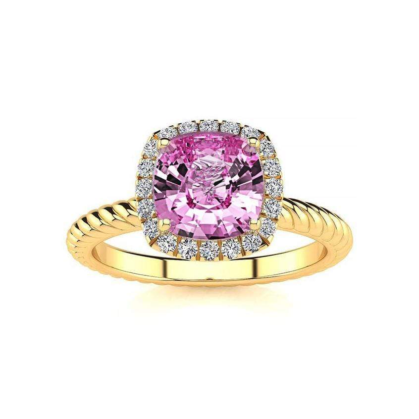 Ring 10K Yellow Gold / 6mm Cushion Gabriella Antique Cushion Chatham Pink Sapphire Halo Diamond Ring Gabriella Antique Cushion   | Chatham Pink Sapphire | Halo Diamond Ring  | Storyandhearts.com