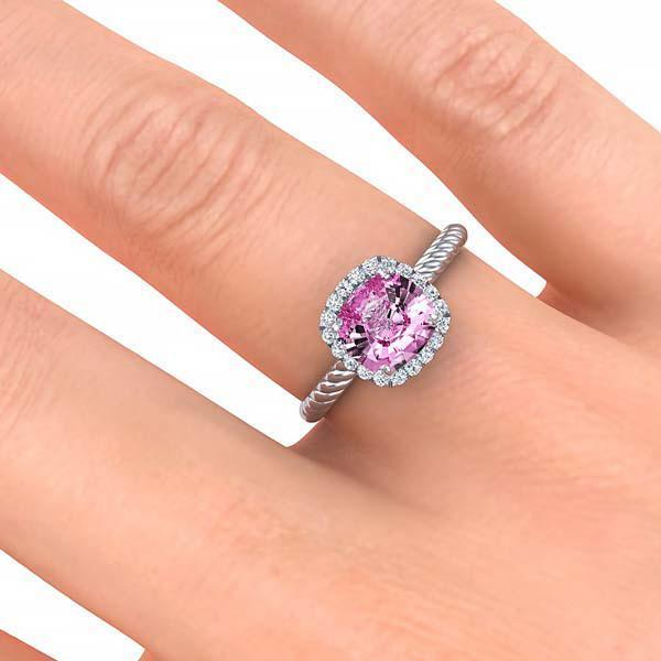 Ring Gabriella Antique Cushion Chatham Pink Sapphire Halo Diamond Ring Gabriella Antique Cushion   | Chatham Pink Sapphire | Halo Diamond Ring  | Storyandhearts.com