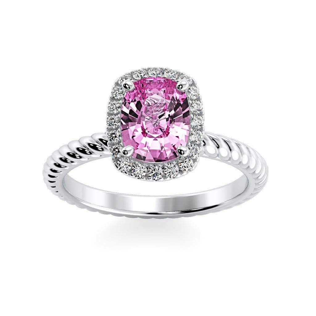 Ring 10K White Gold / 8 x 6  Cushion Gabriella Antique Cushion Chatham Pink Sapphire Halo Diamond Ring Gabriella Antique Cushion   | Chatham Pink Sapphire | Halo Diamond Ring  | Storyandhearts.com
