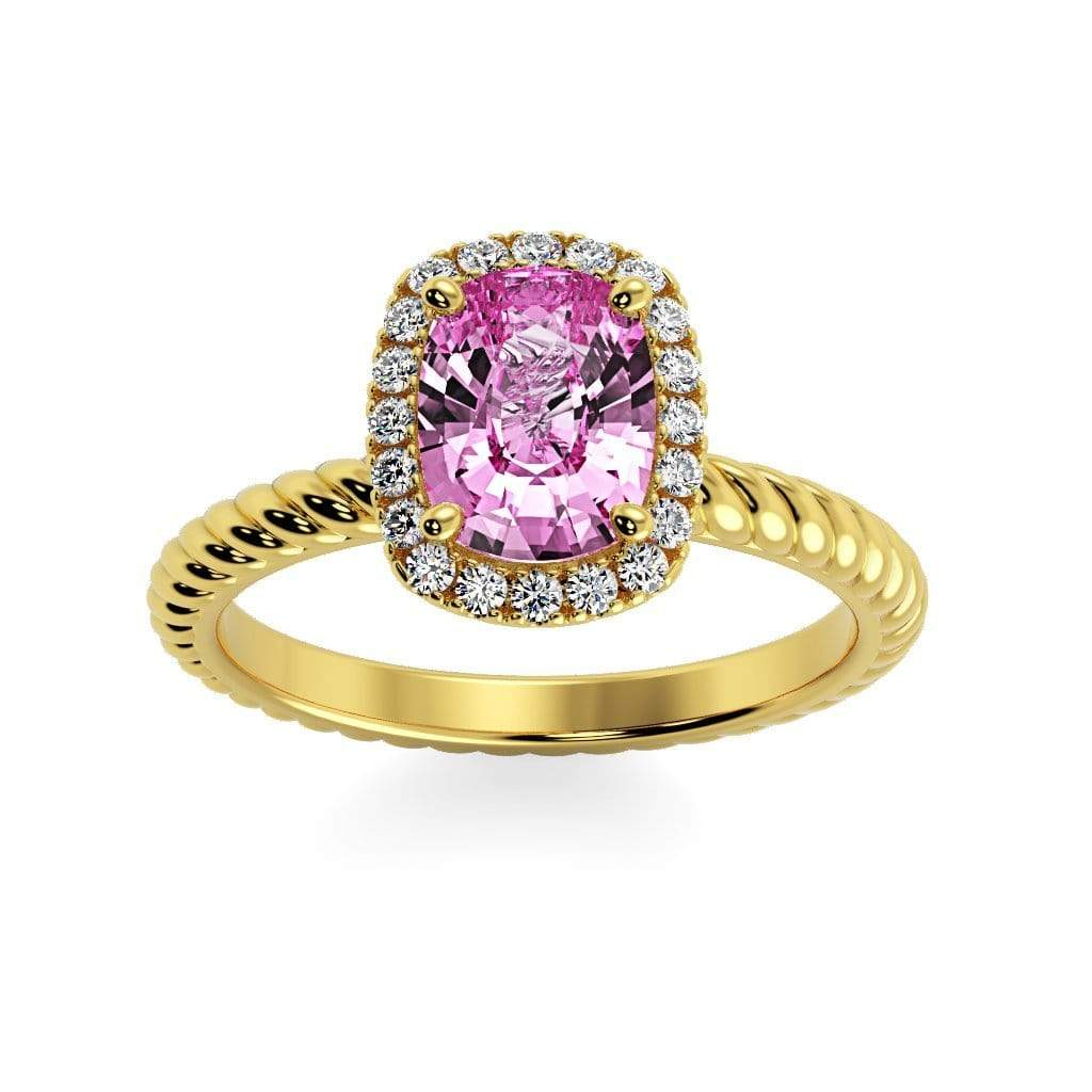 Ring 14K Yellow Gold / 8 x 6  Cushion Gabriella Antique Cushion Chatham Pink Sapphire Halo Diamond Ring Gabriella Antique Cushion   | Chatham Pink Sapphire | Halo Diamond Ring  | Storyandhearts.com
