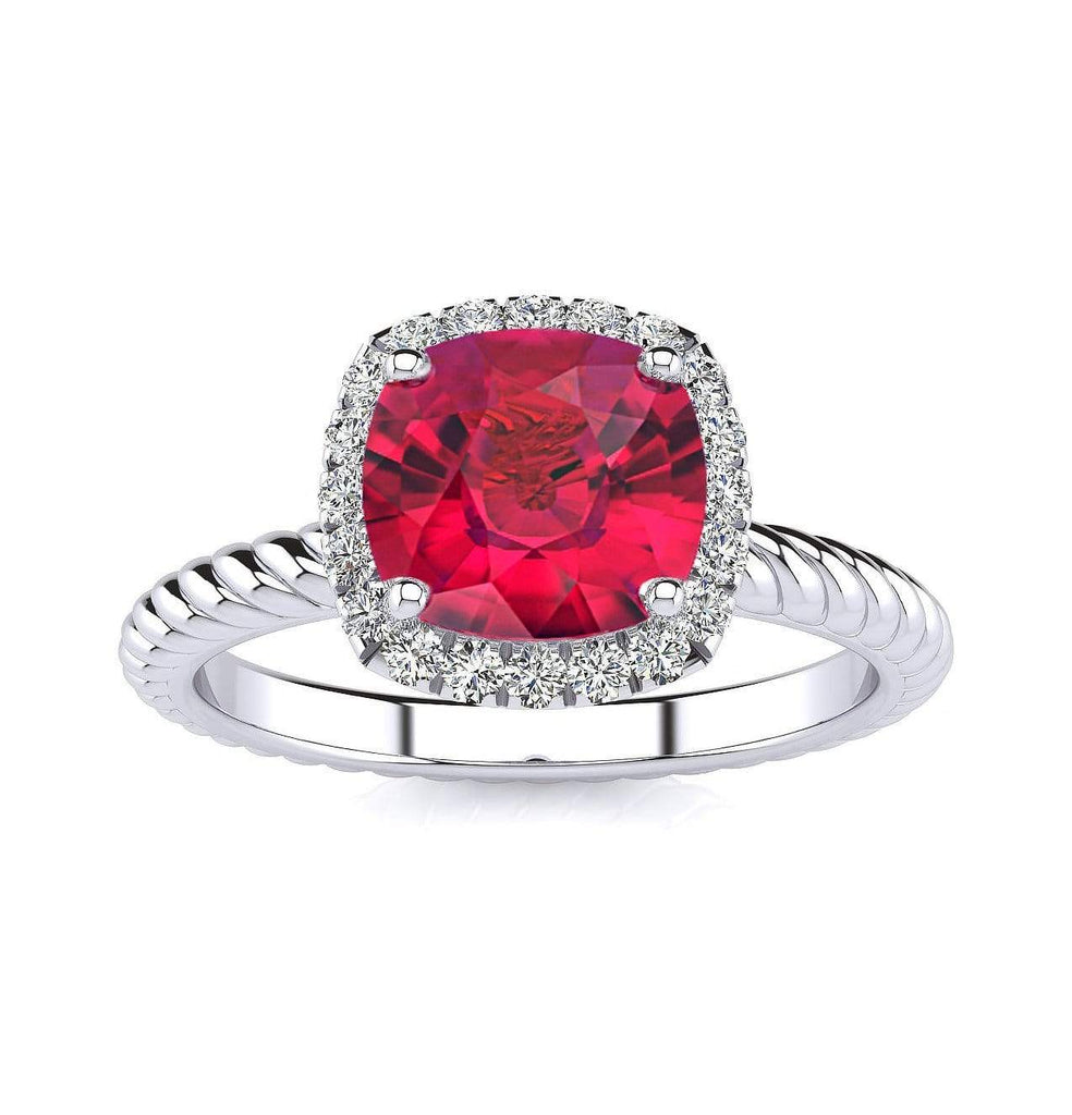 Ring 10K White Gold / 6mm Cushion Gabriella Antique Cushion Chatham Ruby Halo Diamond Ring Gabriella Antique Cushion  | Chatham Ruby | Halo Diamond Ring  | Storyandhearts.com