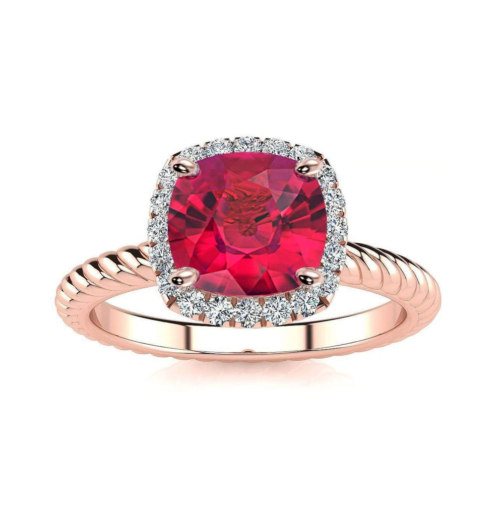 Ring 14K Rose Gold / 6mm Cushion Gabriella Antique Cushion Chatham Ruby Halo Diamond Ring Gabriella Antique Cushion  | Chatham Ruby | Halo Diamond Ring  | Storyandhearts.com