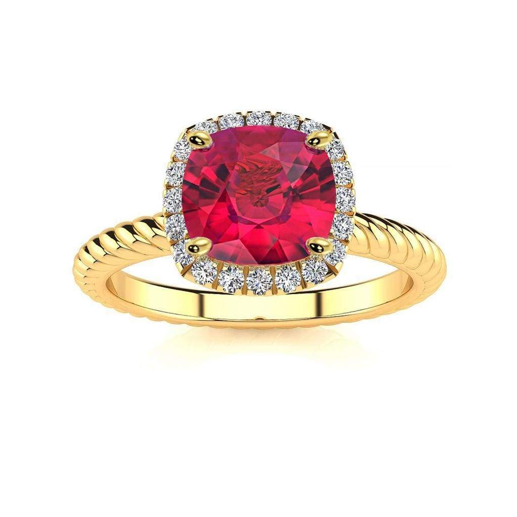 Ring 10K Yellow Gold / 6mm Cushion Gabriella Antique Cushion Chatham Ruby Halo Diamond Ring Gabriella Antique Cushion  | Chatham Ruby | Halo Diamond Ring  | Storyandhearts.com