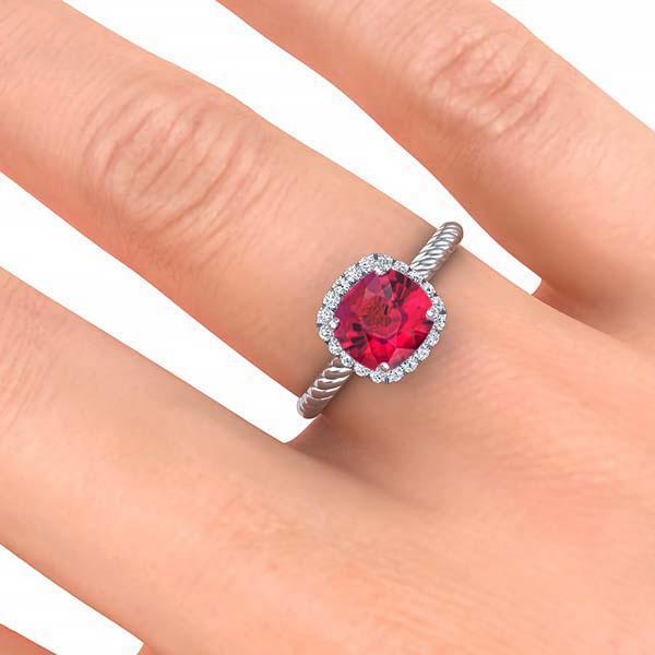Ring Gabriella Antique Cushion Chatham Ruby Halo Diamond Ring Gabriella Antique Cushion  | Chatham Ruby | Halo Diamond Ring  | Storyandhearts.com