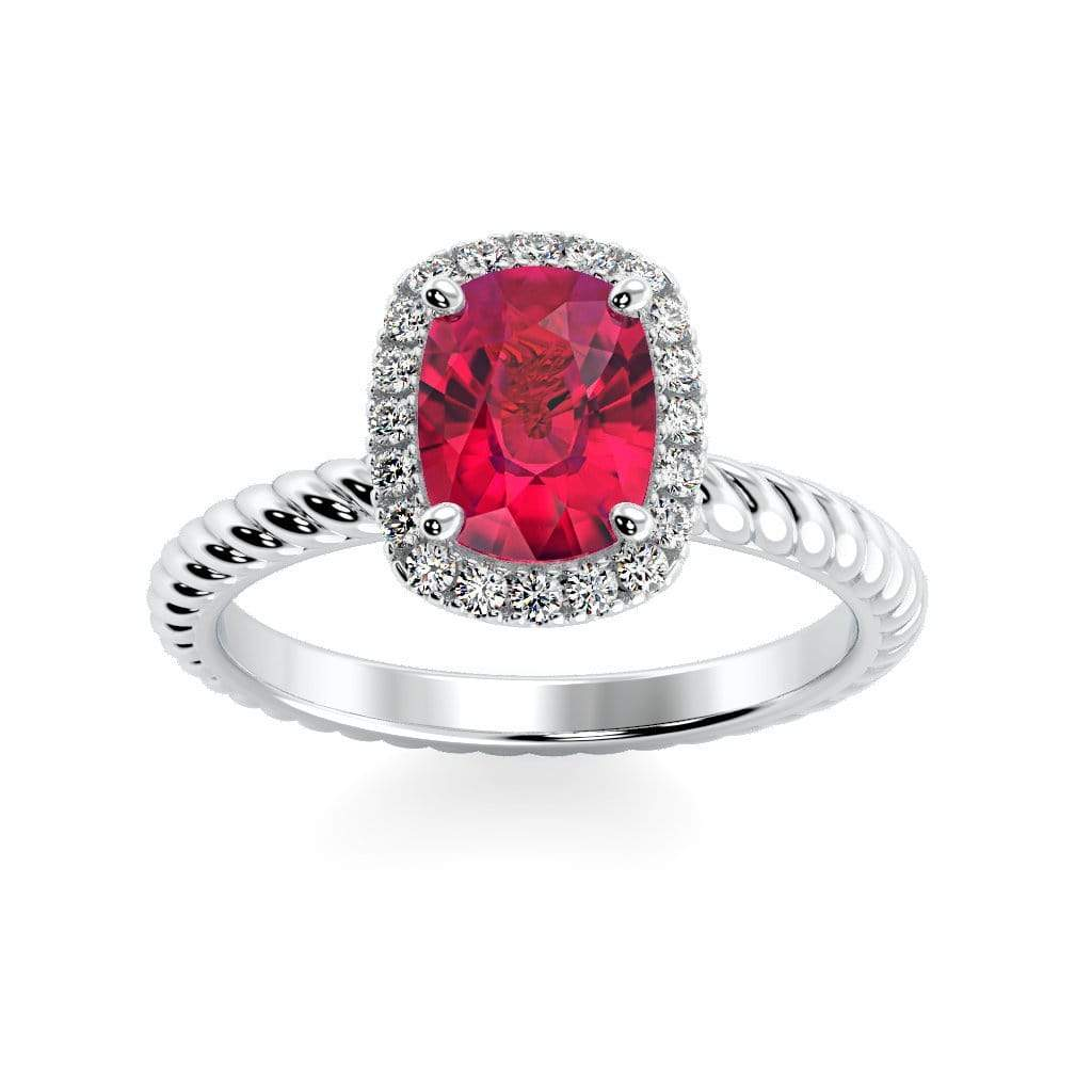 Ring 10K White Gold / 8 x 6  Cushion Gabriella Antique Cushion Chatham Ruby Halo Diamond Ring Gabriella Antique Cushion  | Chatham Ruby | Halo Diamond Ring  | Storyandhearts.com