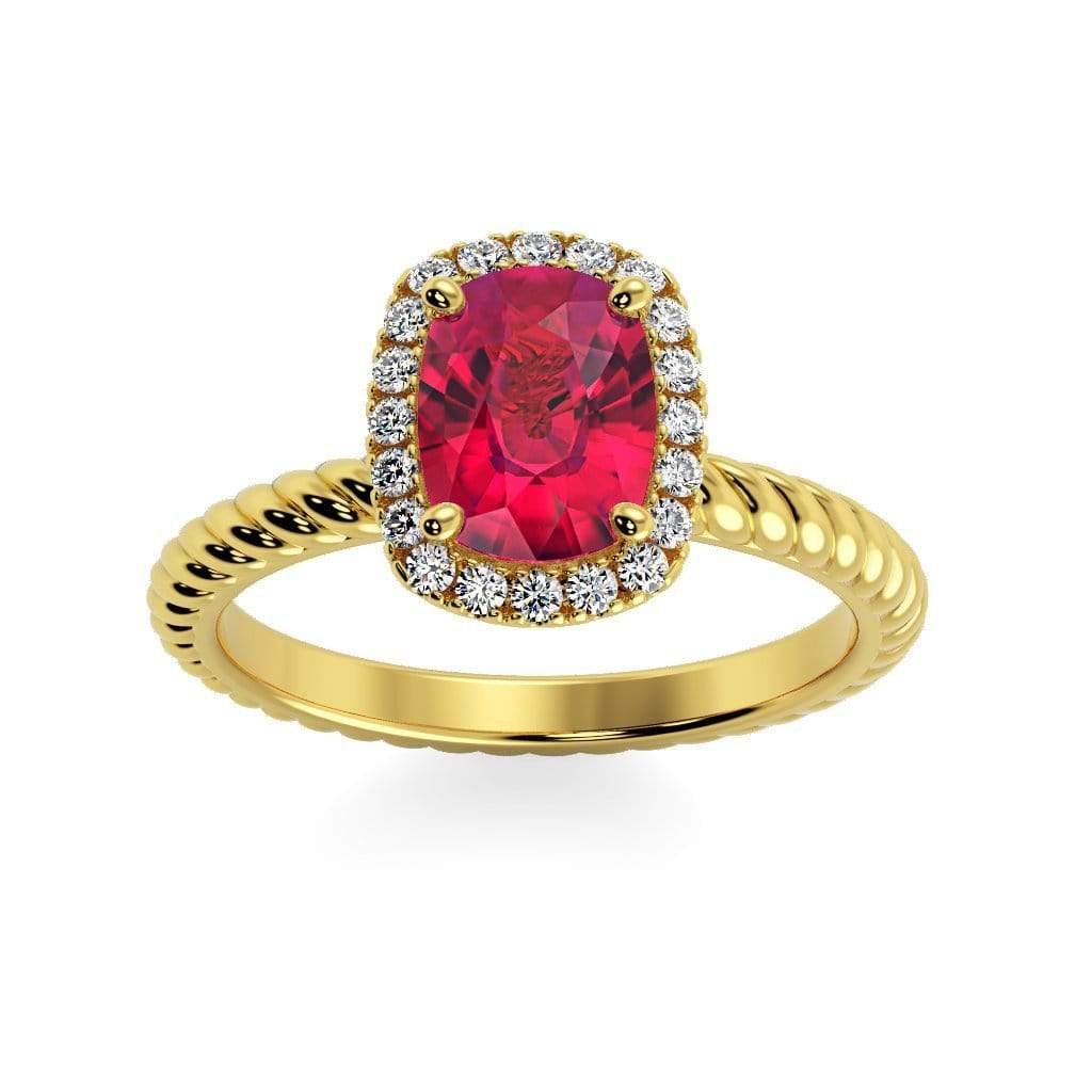 Ring 14K Yellow Gold / 8 x 6  Cushion Gabriella Antique Cushion Chatham Ruby Halo Diamond Ring Gabriella Antique Cushion  | Chatham Ruby | Halo Diamond Ring  | Storyandhearts.com
