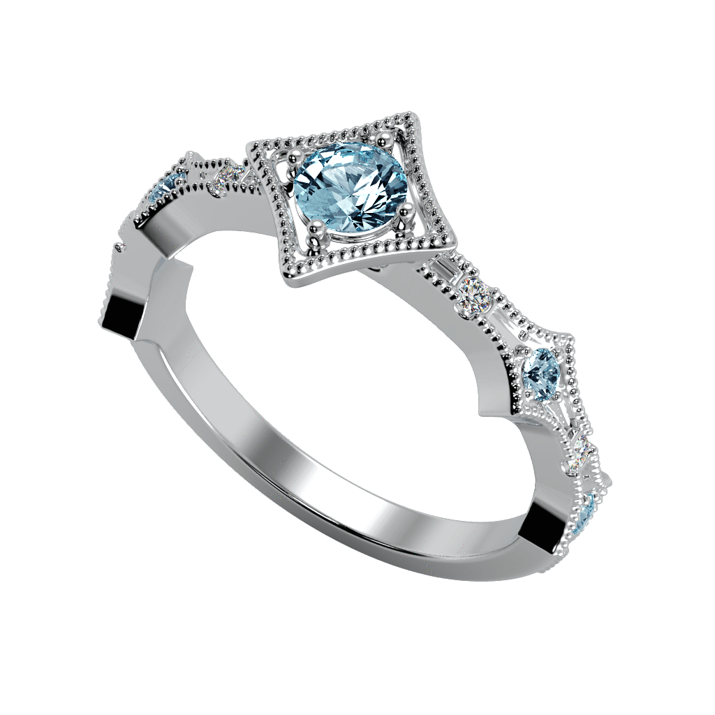 Ring Grace 14K Gold Story & Hearts Stackable Aquamarine and Diamond Band