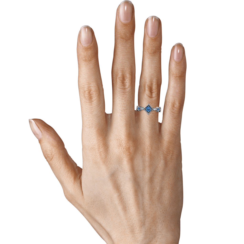 Ring Grace 14K Gold Story & Hearts Stackable Blue Topaz and Diamond Band