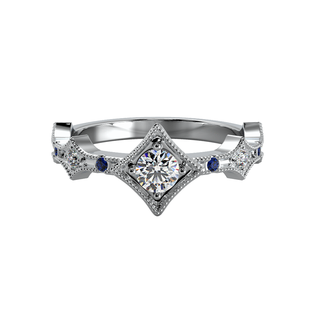Ring Grace 14K Gold Story & Hearts Stackable Diamond and Blue Sapphire Band