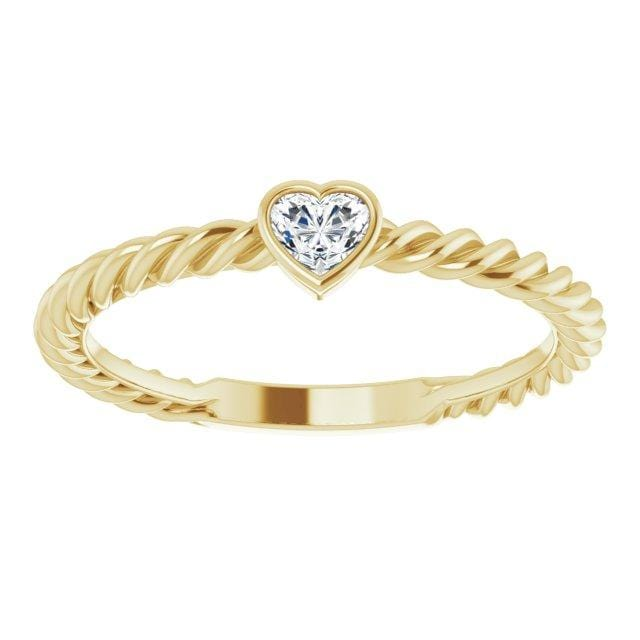 Ring 14K Yellow Gold Hayley 14K 1/6 CT Heart Diamond Bezel-Set Rope Ring