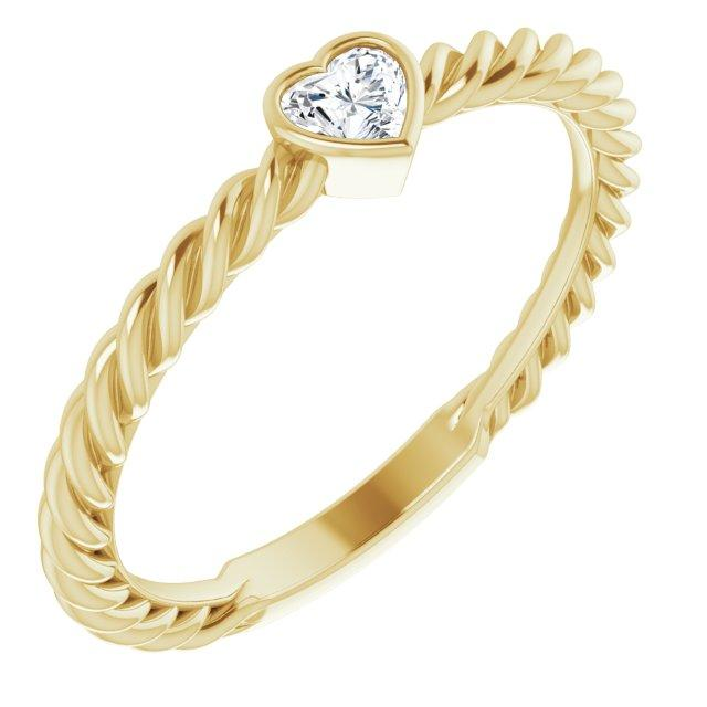 Ring Hayley 14K 1/6 CT Heart Diamond Bezel-Set Rope Ring