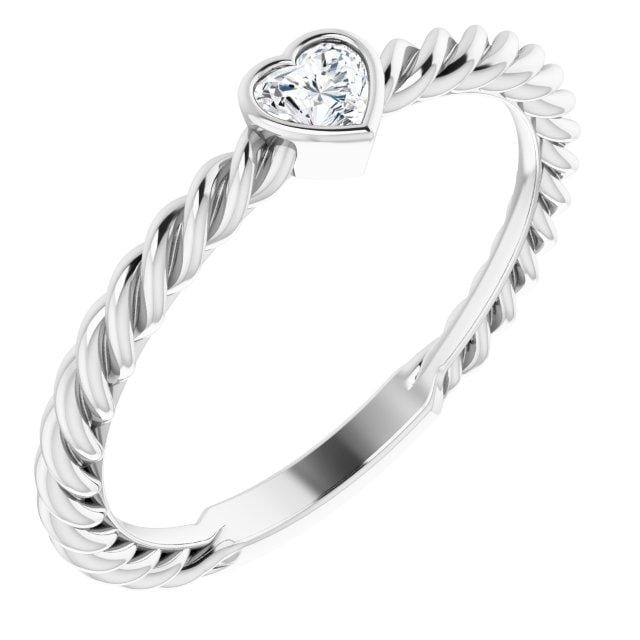 Ring Hayley 14K 1/6 CT Heart Diamond Stackable Rope Ring