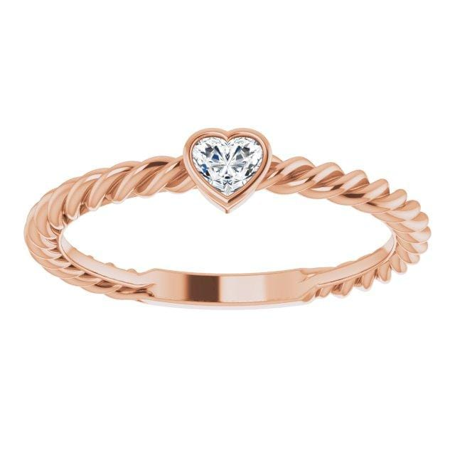 Ring 14K Rose Gold Hayley 14K 1/6 CT Heart Diamond Stackable Rope Ring