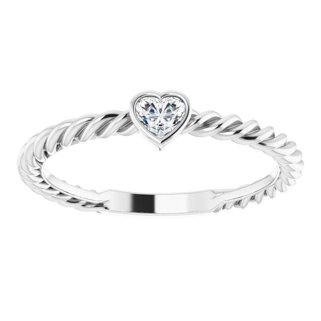 Ring 14K White Gold Hayley 14K 1/6 CT Heart Diamond Stackable Rope Ring