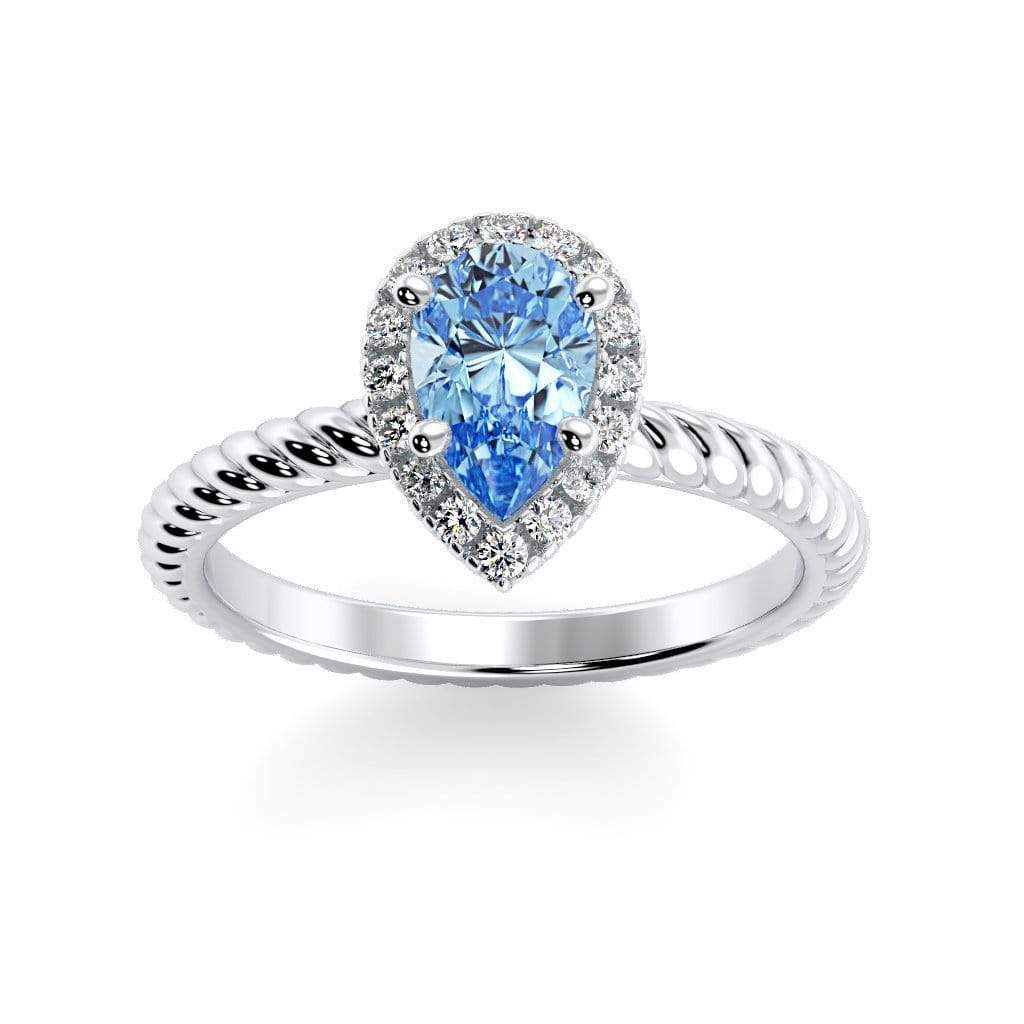 Ring 10K White Gold / 7x5 mm Pear Kaya Pear Chatham Aqua Blue Spinel Halo Diamond Ring Kaya Pear  | Chatham Aqua Blue Spinel | Halo Diamond Ring  | Storyandhearts.com