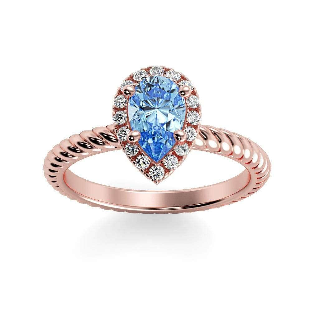 Ring 14K Rose Gold / 7x5 mm Pear Kaya Pear Chatham Aqua Blue Spinel Halo Diamond Ring Kaya Pear  | Chatham Aqua Blue Spinel | Halo Diamond Ring  | Storyandhearts.com