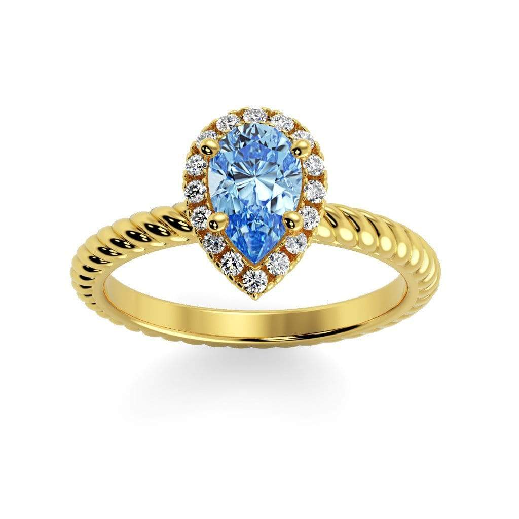 Ring 10K Yellow Gold / 7x5 mm Pear Kaya Pear Chatham Aqua Blue Spinel Halo Diamond Ring Kaya Pear  | Chatham Aqua Blue Spinel | Halo Diamond Ring  | Storyandhearts.com