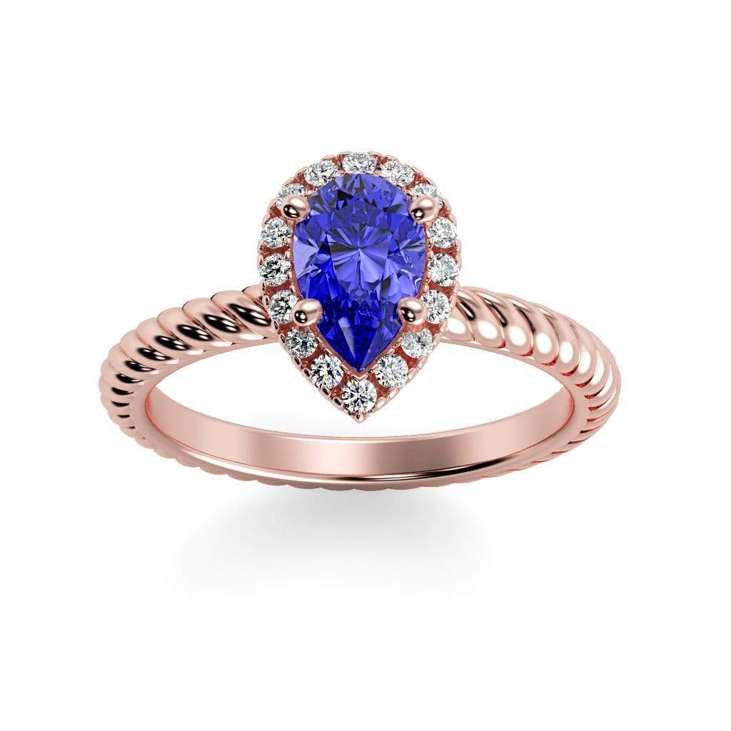 Ring 14K Rose Gold / 7x5 mm Pear Kaya Pear Chatham Blue Sapphire Halo Diamond Ring Kaya Pear  | Blue Sapphire | Halo Diamond Ring  | Storyandhearts.com