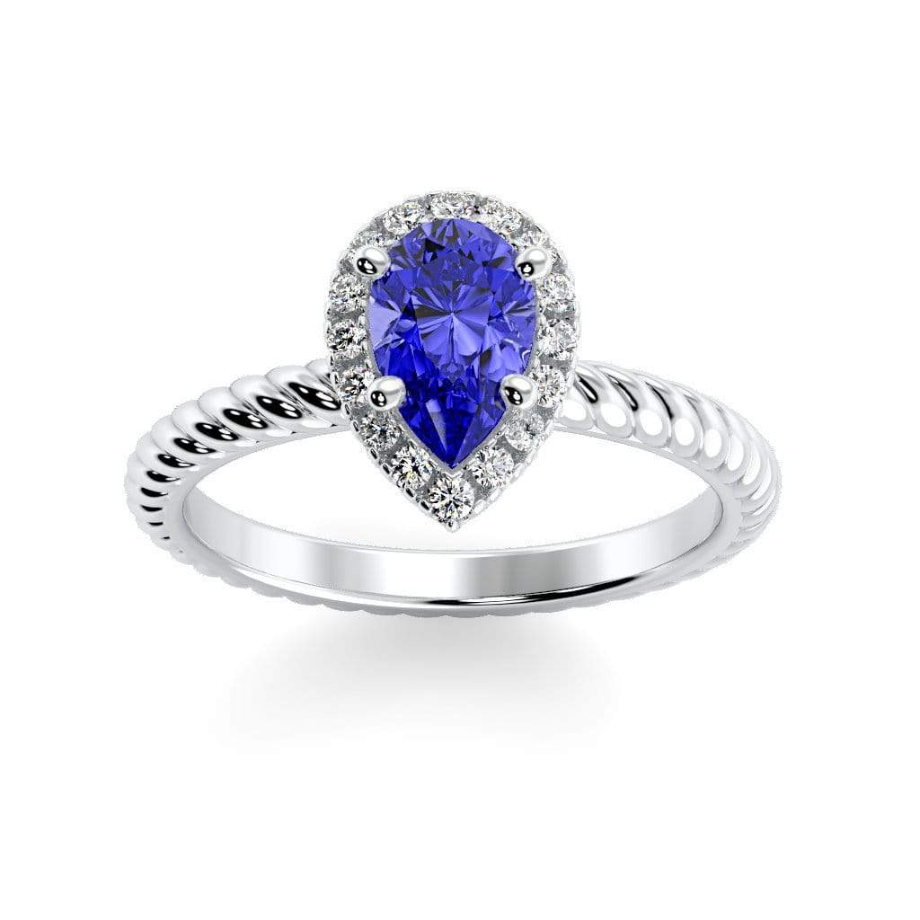 Ring 10K White Gold / 7x5 mm Pear Kaya Pear Chatham Blue Sapphire Halo Diamond Ring Kaya Pear  | Blue Sapphire | Halo Diamond Ring  | Storyandhearts.com