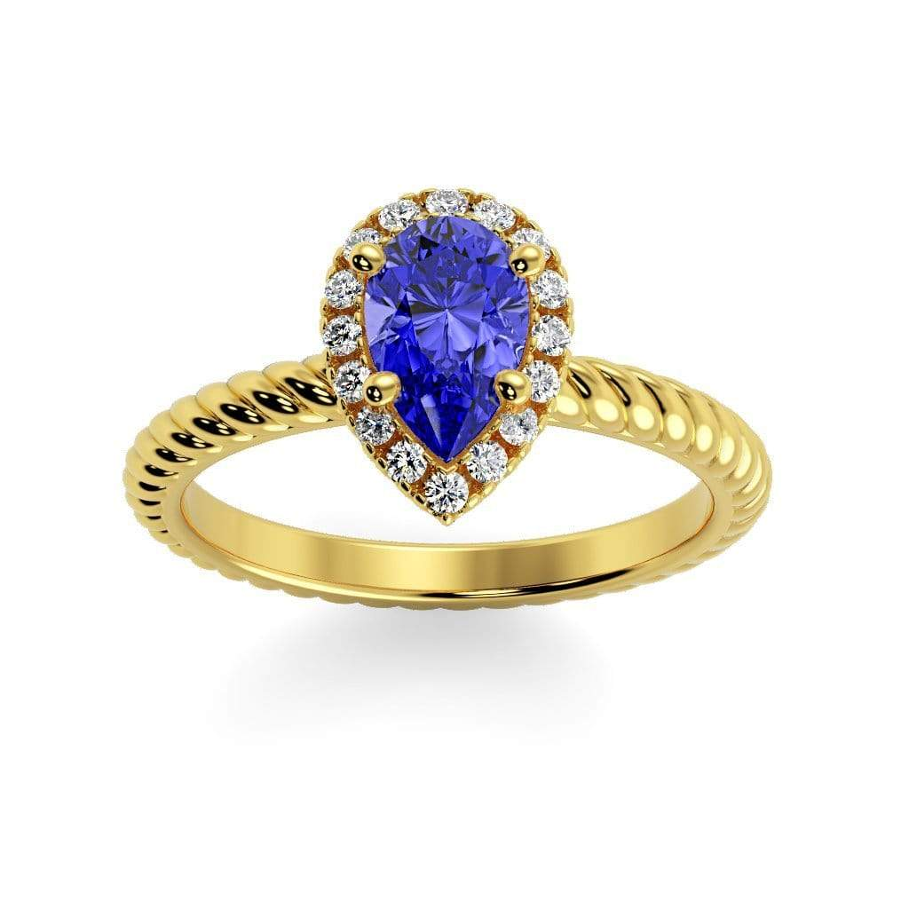 Ring 10K Yellow Gold / 7x5 mm Pear Kaya Pear Chatham Blue Sapphire Halo Diamond Ring Kaya Pear  | Blue Sapphire | Halo Diamond Ring  | Storyandhearts.com