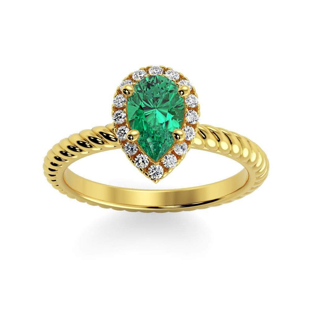 Ring 10K Yellow Gold / 7x5 mm Pear Kaya Pear Chatham Emerald Halo Diamond Ring Kaya Pear   | Chatham Emerald | Halo Diamond Ring  | Storyandhearts.com