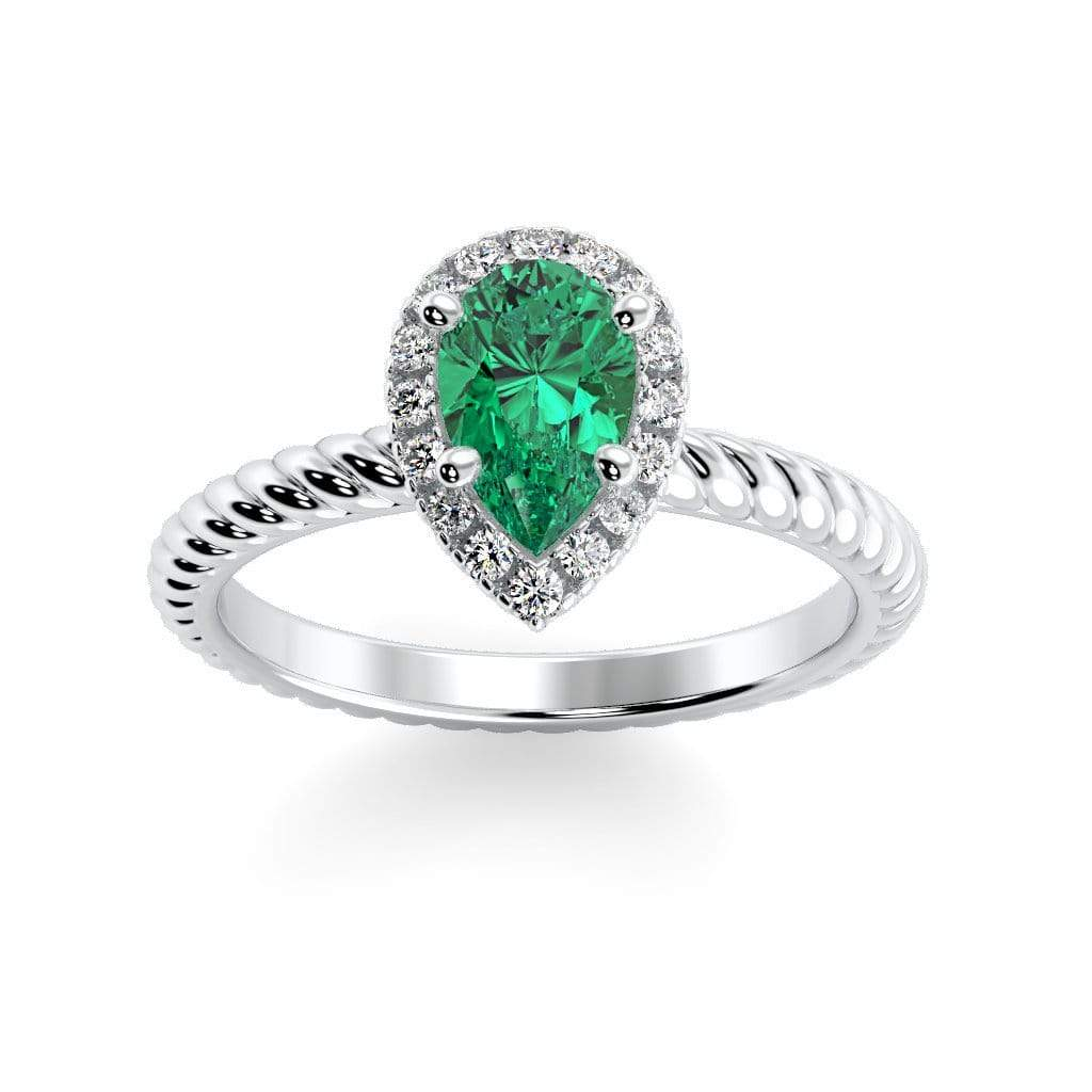 Ring 10K White Gold / 7x5 mm Pear Kaya Pear Chatham Emerald Halo Diamond Ring Kaya Pear   | Chatham Emerald | Halo Diamond Ring  | Storyandhearts.com