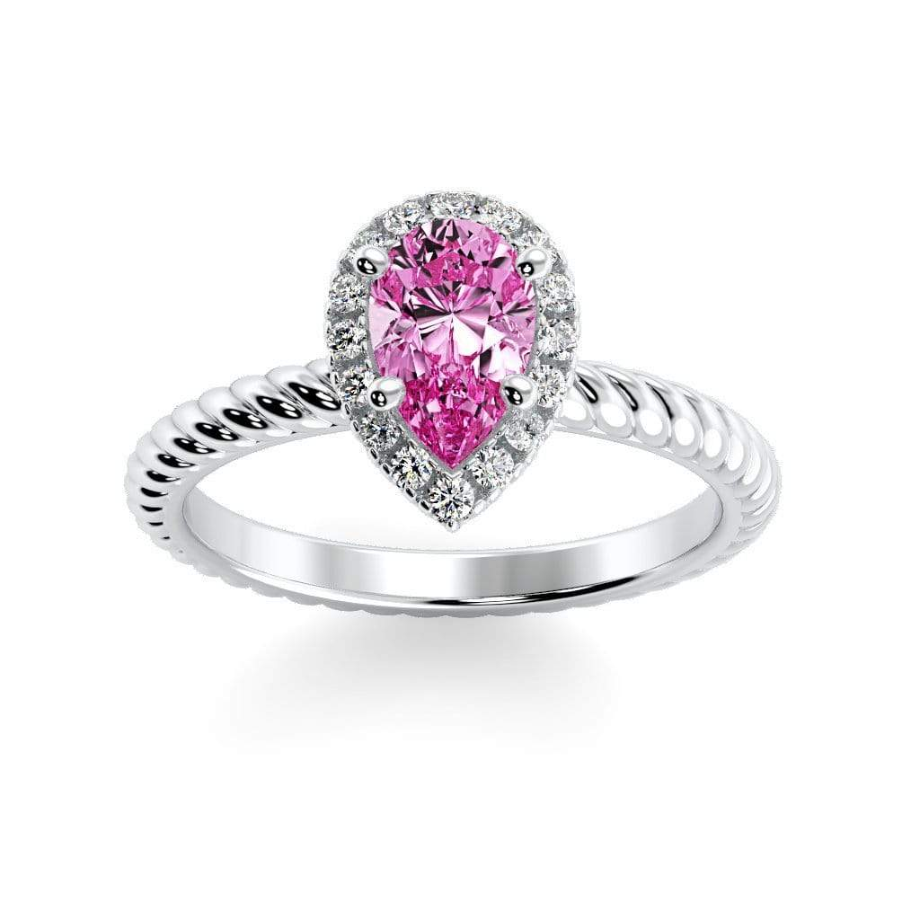 Ring 10K White Gold / 7x5 mm Pear Kaya Pear Chatham Pink Sapphire Halo Diamond Ring Kaya Pear   | Chatham Pink Sapphire | Halo Diamond Ring  | Storyandhearts.com