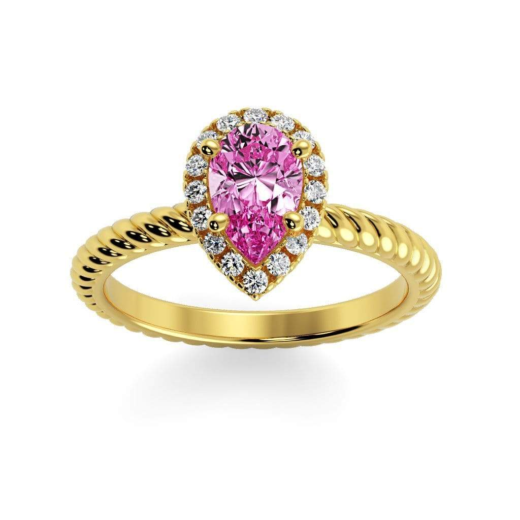 Ring 10K Yellow Gold / 7x5 mm Pear Kaya Pear Chatham Pink Sapphire Halo Diamond Ring Kaya Pear   | Chatham Pink Sapphire | Halo Diamond Ring  | Storyandhearts.com