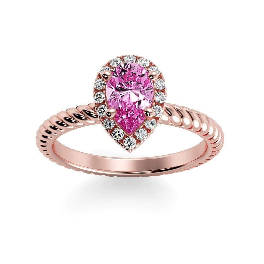 Ring 14K Rose Gold / 7x5 mm Pear Kaya Pear Chatham Pink Sapphire Halo Diamond Ring Kaya Pear   | Chatham Pink Sapphire | Halo Diamond Ring  | Storyandhearts.com