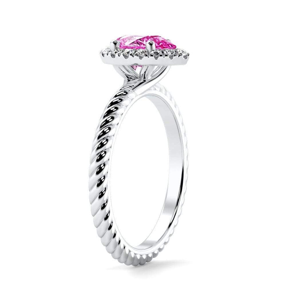 Ring Kaya Pear Chatham Pink Sapphire Halo Diamond Ring Kaya Pear   | Chatham Pink Sapphire | Halo Diamond Ring  | Storyandhearts.com