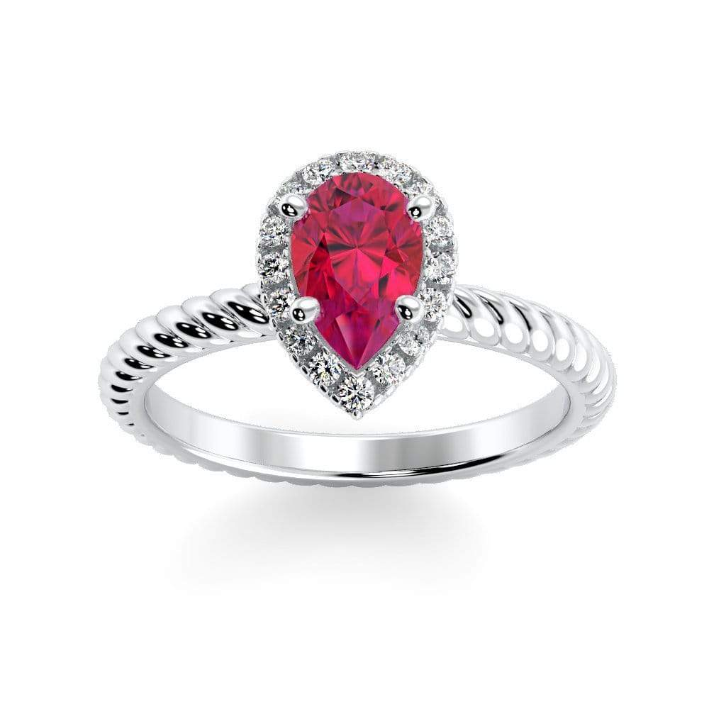 Ring 10K White Gold / 7x5 mm Pear Kaya Pear Chatham Ruby Halo Diamond Ring Kaya Pear  | Chatham Ruby | Halo Diamond Ring  | Storyandhearts.com