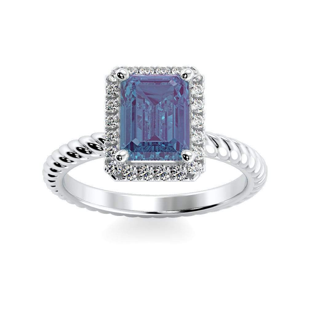 Ring 10K White Gold / 7x5 mm Emerald Cut Lily Emerald Chatham Alexandrite Halo Diamond Ring Lily Emerald   | Chatham Alexandrite | Halo Diamond Ring  | Storyandhearts.com
