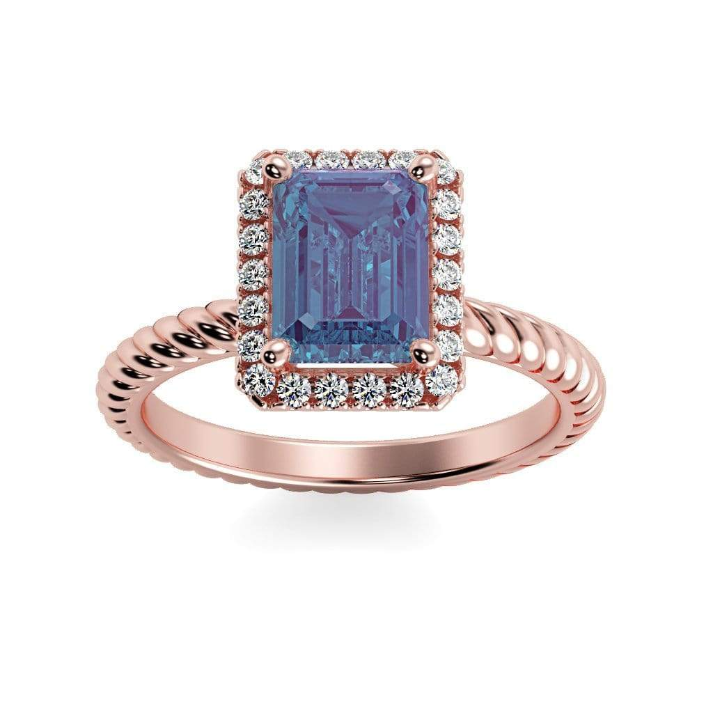 Ring 14K Rose Gold / 7x5 mm Emerald Cut Lily Emerald Chatham Alexandrite Halo Diamond Ring Lily Emerald   | Chatham Alexandrite | Halo Diamond Ring  | Storyandhearts.com