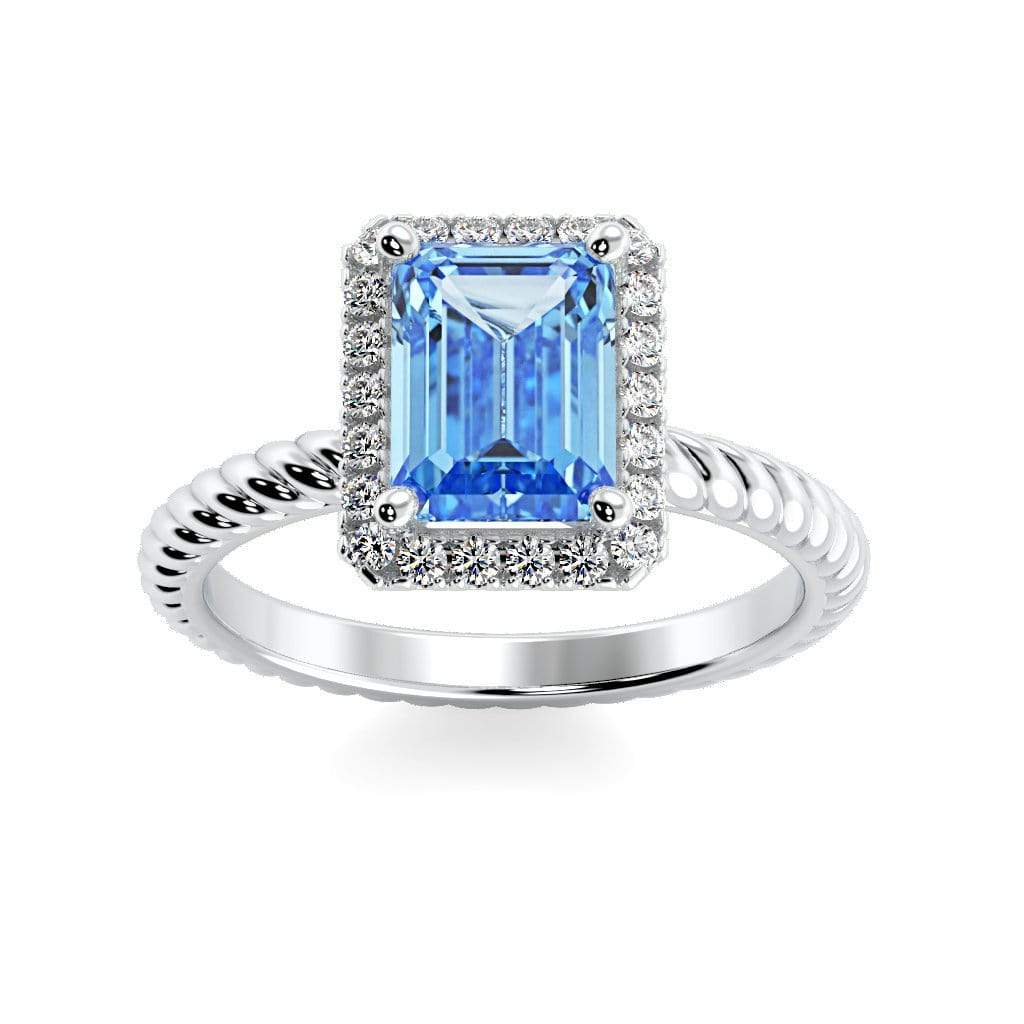 Ring 10K White Gold / 7x5 mm Emerald Cut Lily Emerald Chatham Aqua Blue Spinel Halo Diamond Ring Lily Emerald  | Chatham Aqua Blue Spinel | Halo Diamond Ring  | Storyandhearts.com