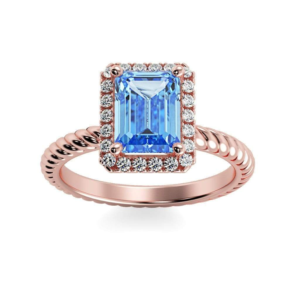Ring 14K Rose Gold / 7x5 mm Emerald Cut Lily Emerald Chatham Aqua Blue Spinel Halo Diamond Ring Lily Emerald  | Chatham Aqua Blue Spinel | Halo Diamond Ring  | Storyandhearts.com