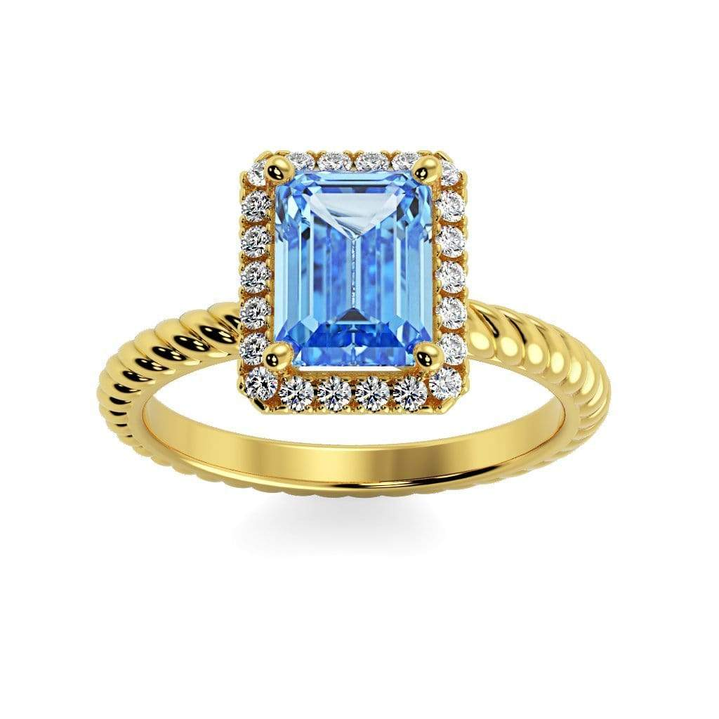 Ring 10K Yellow Gold / 7x5 mm Emerald Cut Lily Emerald Chatham Aqua Blue Spinel Halo Diamond Ring Lily Emerald  | Chatham Aqua Blue Spinel | Halo Diamond Ring  | Storyandhearts.com