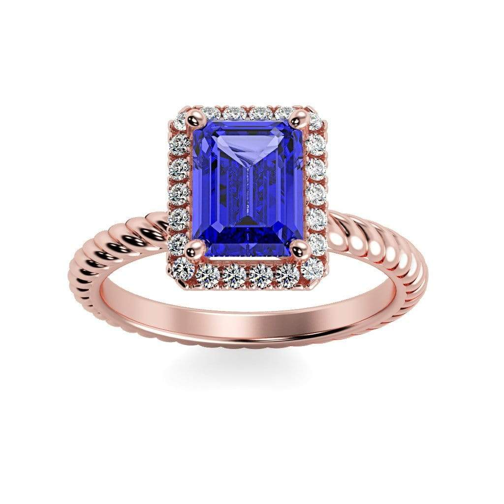 Ring 14K Rose Gold / 7x5 mm Emerald Cut Lily Emerald Chatham Blue Sapphire Halo Diamond Ring Lily Emerald  | Blue Sapphire | Halo Diamond Ring  | Storyandhearts.com
