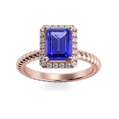 Lily Emerald Chatham Blue Sapphire Halo Diamond Ring