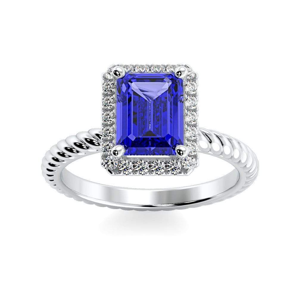 Ring 10K White Gold / 7x5 mm Emerald Cut Lily Emerald Chatham Blue Sapphire Halo Diamond Ring Lily Emerald  | Blue Sapphire | Halo Diamond Ring  | Storyandhearts.com