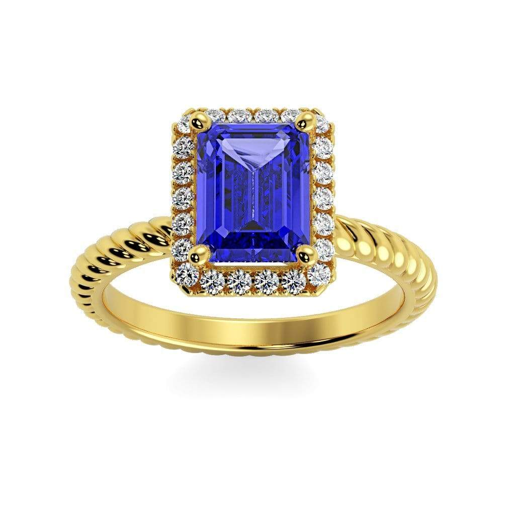 Ring 10K Yellow Gold / 7x5 mm Emerald Cut Lily Emerald Chatham Blue Sapphire Halo Diamond Ring Lily Emerald  | Blue Sapphire | Halo Diamond Ring  | Storyandhearts.com