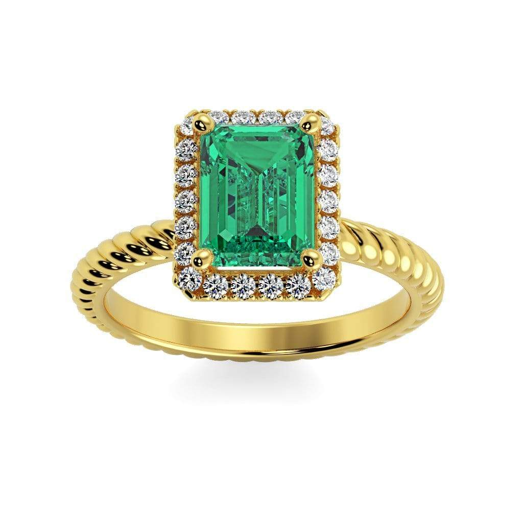 Ring 10K Yellow Gold / 7x5 mm Emerald Cut Lily Emerald Chatham Emerald Halo Diamond Ring Lily Emerald   | Chatham Emerald | Halo Diamond Ring  | Storyandhearts.com