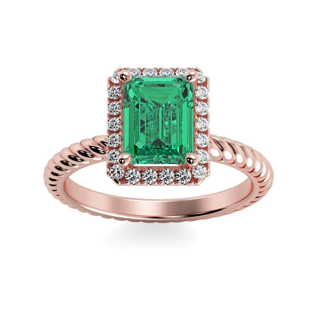 Ring 14K Rose Gold / 7x5 mm Emerald Cut Lily Emerald Chatham Emerald Halo Diamond Ring Lily Emerald   | Chatham Emerald | Halo Diamond Ring  | Storyandhearts.com