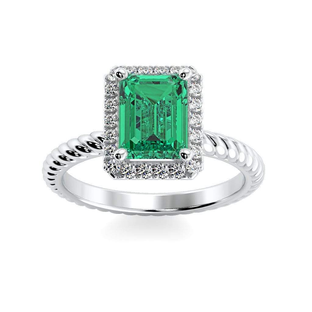 Ring 10K White Gold / 7x5 mm Emerald Cut Lily Emerald Chatham Emerald Halo Diamond Ring Lily Emerald   | Chatham Emerald | Halo Diamond Ring  | Storyandhearts.com