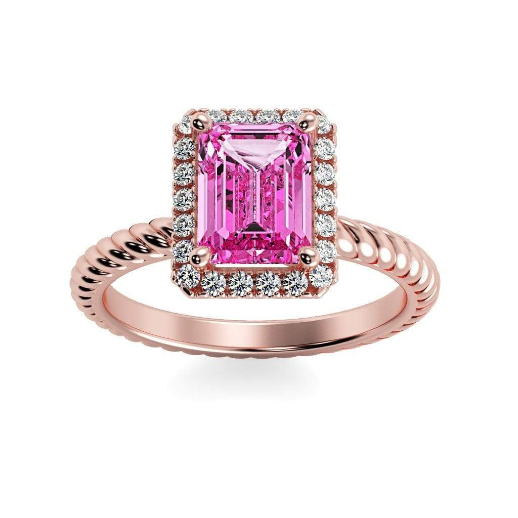 Ring 14K Rose Gold / 7x5 mm Emerald Cut Lily Emerald Chatham Pink Sapphire Halo Diamond Ring Lily Emerald   | Chatham Pink Sapphire | Halo Diamond Ring  | Storyandhearts.com