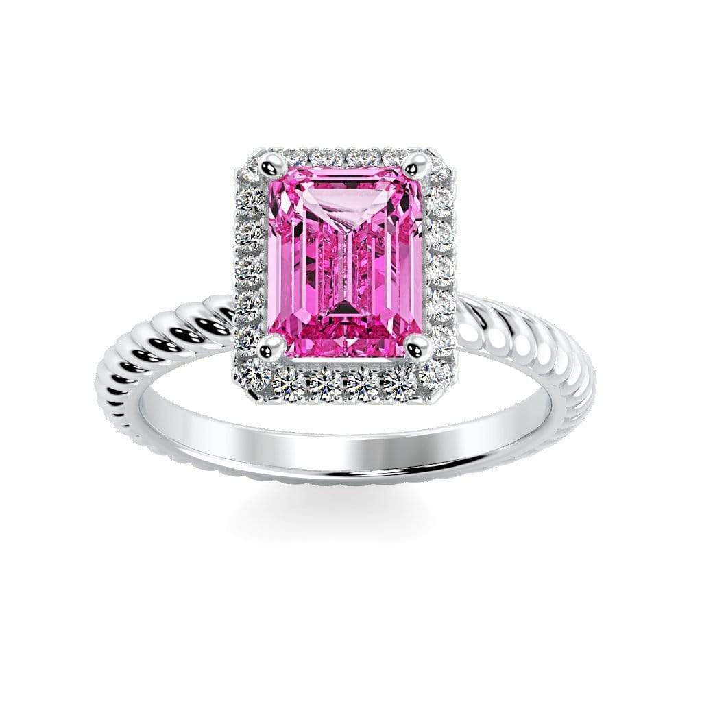 Ring 10K White Gold / 7x5 mm Emerald Cut Lily Emerald Chatham Pink Sapphire Halo Diamond Ring Lily Emerald   | Chatham Pink Sapphire | Halo Diamond Ring  | Storyandhearts.com