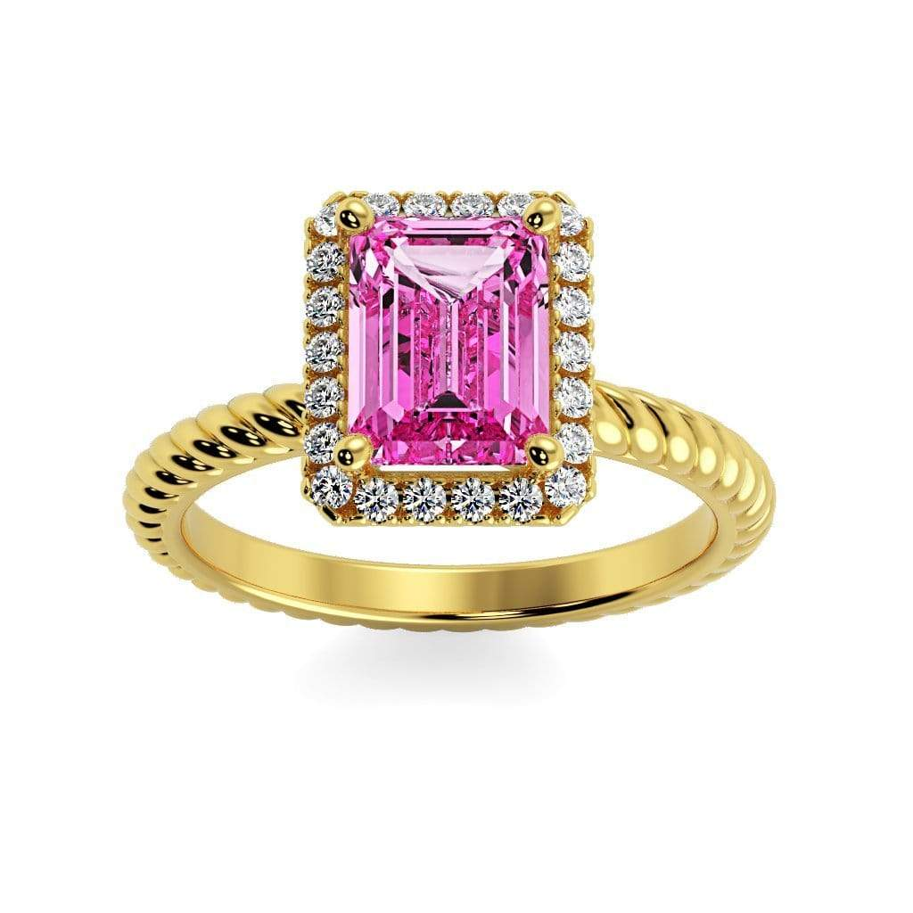 Ring 10K Yellow Gold / 7x5 mm Emerald Cut Lily Emerald Chatham Pink Sapphire Halo Diamond Ring Lily Emerald   | Chatham Pink Sapphire | Halo Diamond Ring  | Storyandhearts.com