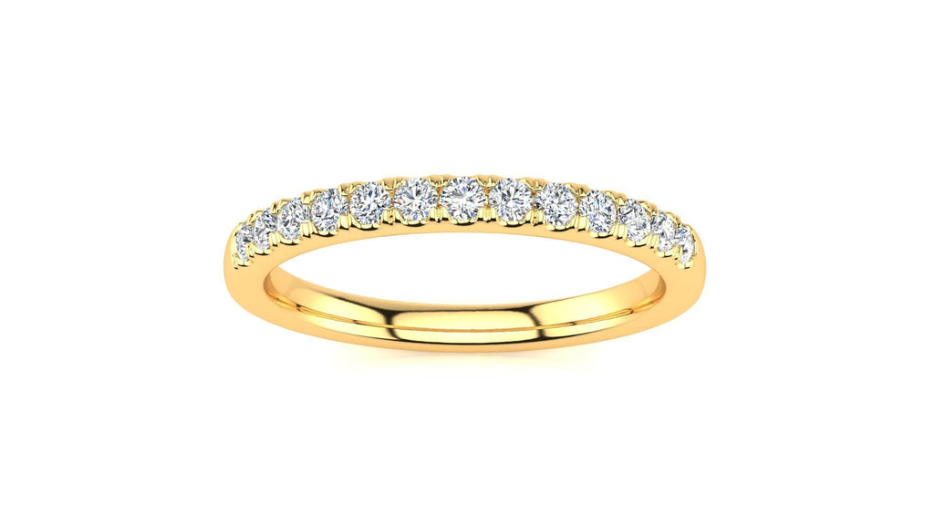 Ring 10K YELLOW GOLD Micropavé 1/4 Carat Diamond Wedding Band Micropavé Venus Ring 1/4 CT | Storyandhearts.com